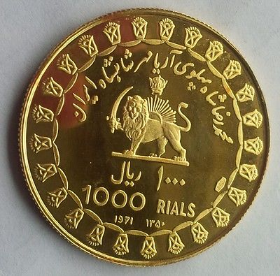 The Orient Treasures 1971 Persia 1000 Riyal Gold Coin Medal 13 03 Gram Reza Pahlavii 2500 Year